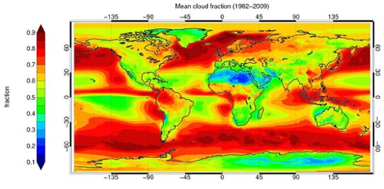 Graphics: A compilation of the Earth's mean cloudiness 1982-2009