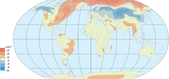 Global temperaturanomali i december 2012.