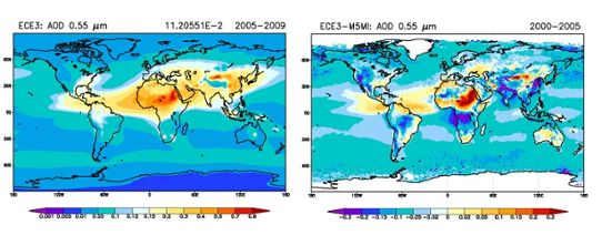 CMIP5 aerosol optical depth and its bias compared to MODIS-MISR observations.
