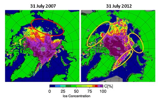 Arctic iceconcentration 2007 and 2012