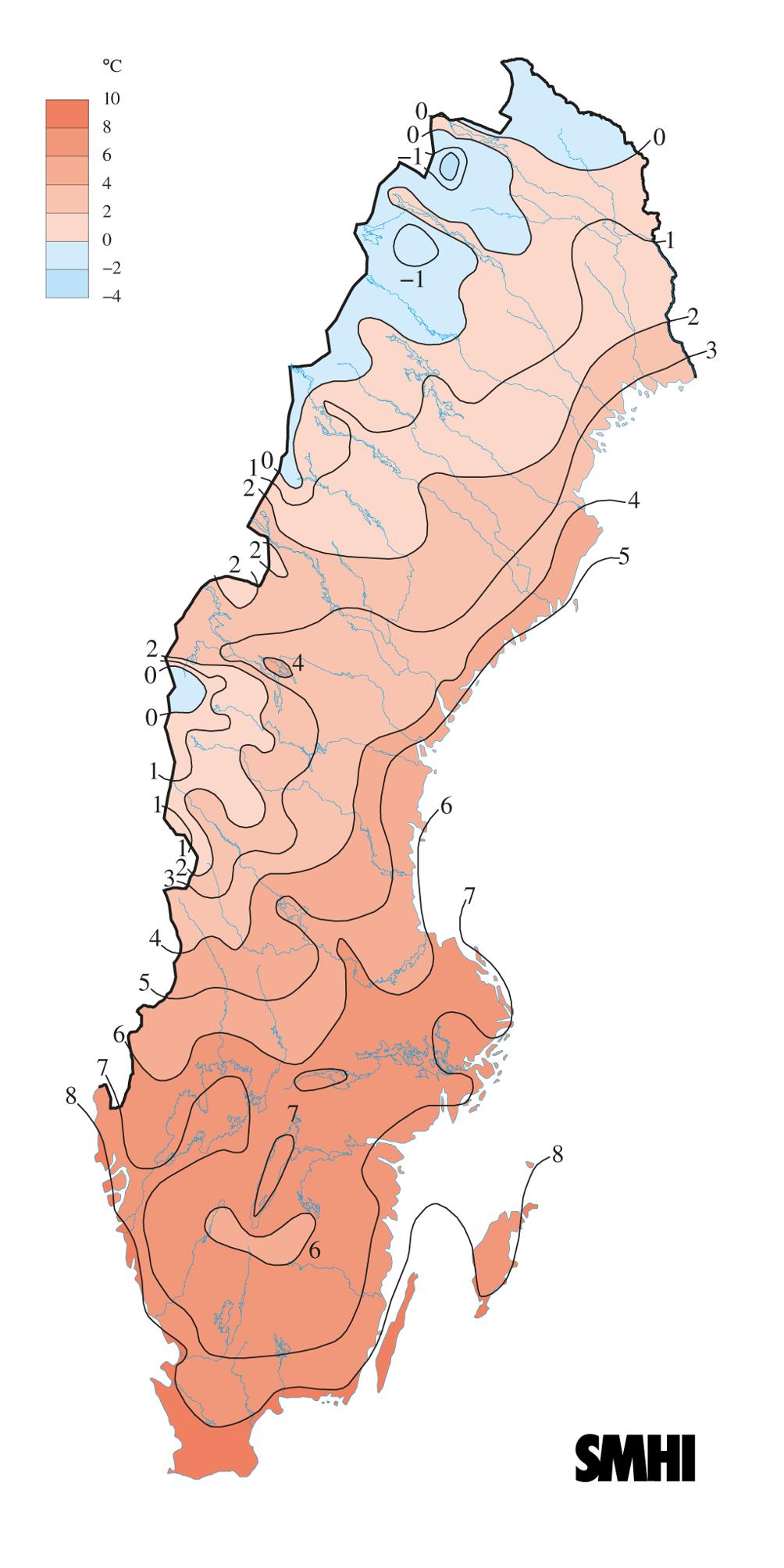 höjd över havet karta sverige SMHI   Månads , årstids  och årskartor | SMHI höjd över havet karta sverige