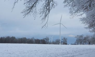 Wind turbines during winter season