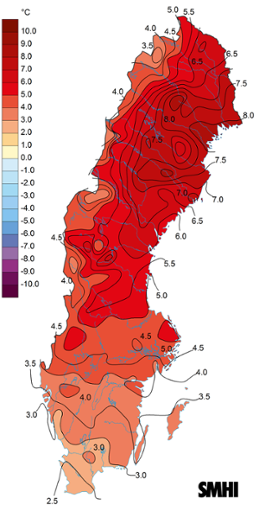 Medeltemperaturens avvikelse under februari 2015