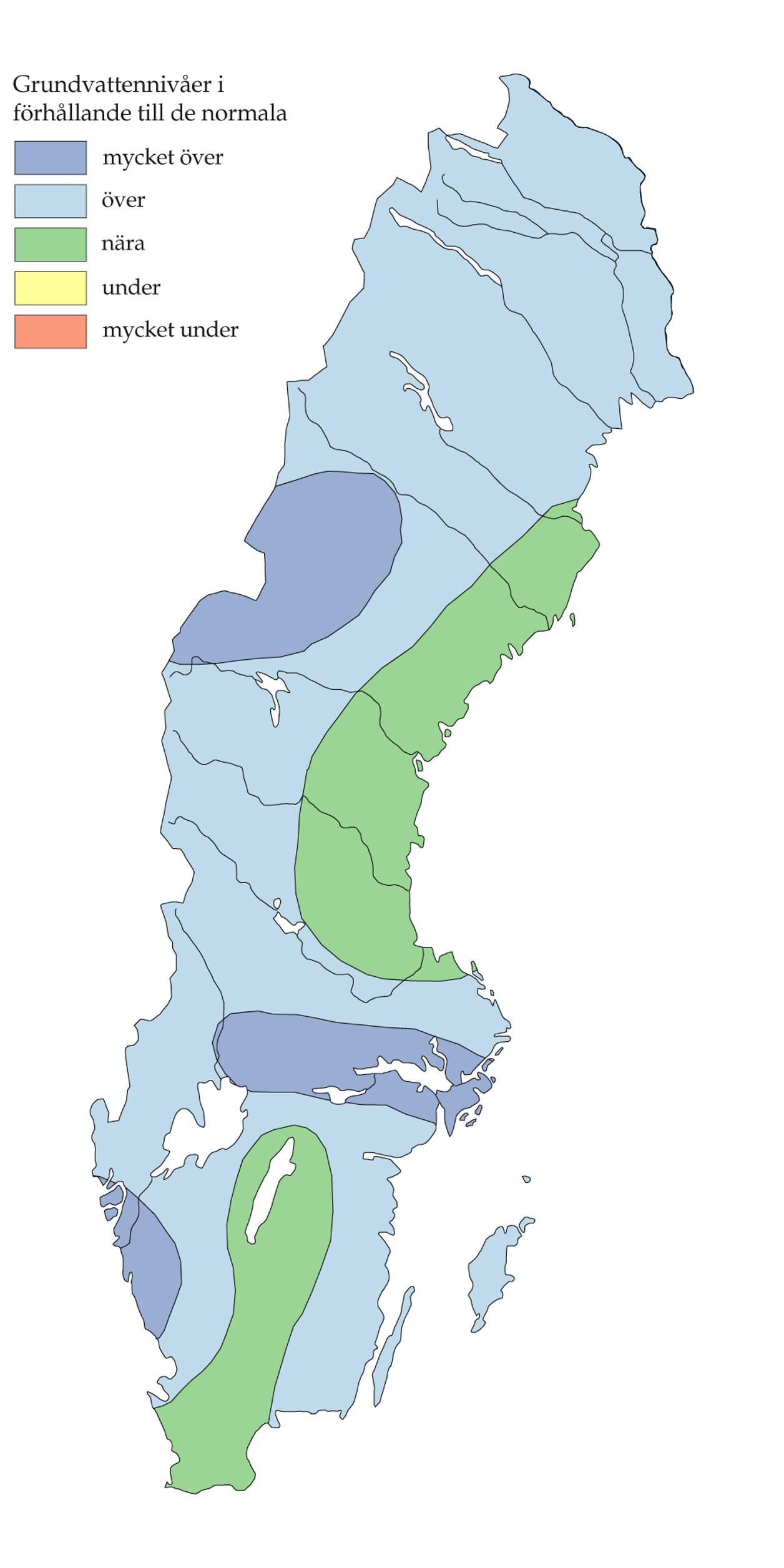Hoga grundvattennivaer i hela landet