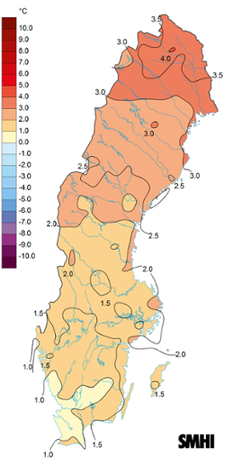 Medeltemperaturens avvikelse från det normala under september 2015.