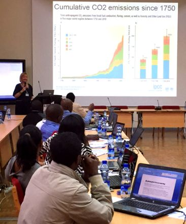 Lotta Andersson from SMHI lecturing at the start-up session in Addis Ababa.