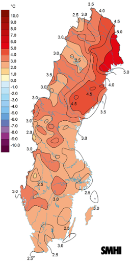 Medeltemperaturens avvikelse från det normala under november 2015.