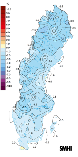 Medeltemperaturens avvikelse från det normala under januari 2016.